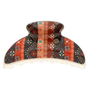 Boho Aztec Striped Hair Claw - Black,