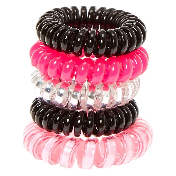 Black & Pink Mini Coiled Hair Ties,