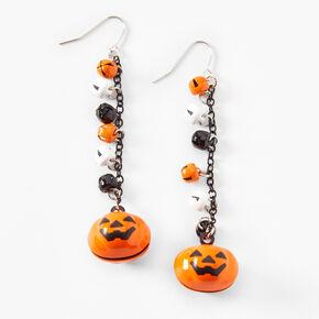 """Orange & Black 3"""" Pumpkin Bell Drop Earrings,"""