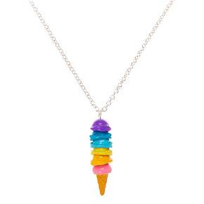 Rainbow Ice Cream Cone Pendant Necklace,