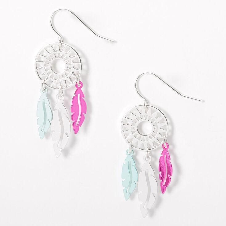 """Silver 1.5"""" Pink & Teal Dreamcatcher Drop Earrings,"""