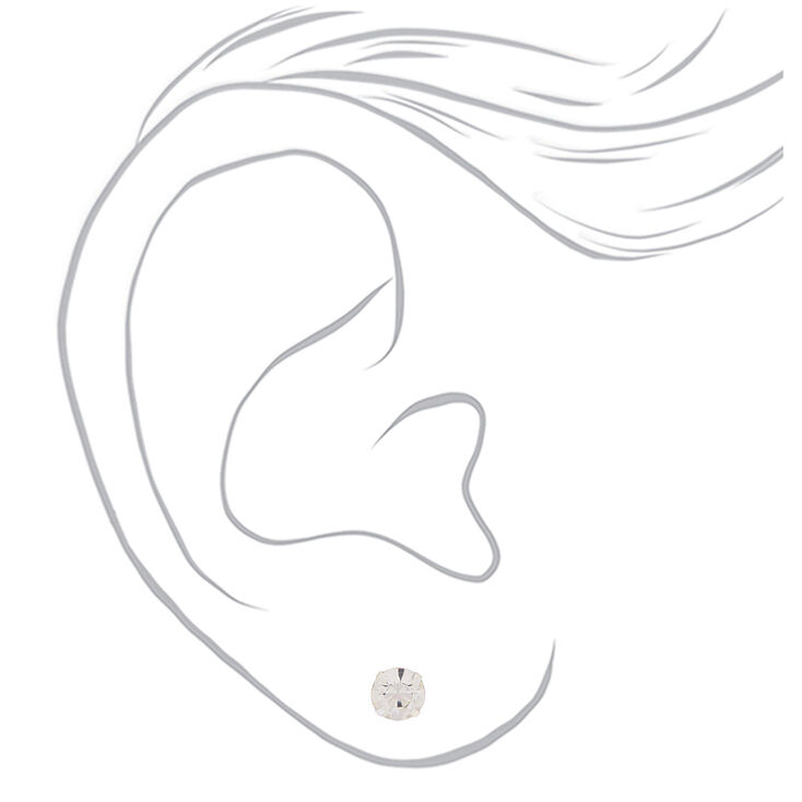 Silver Graduated Crystal Pearl Stud Earrings - 9 Pack,