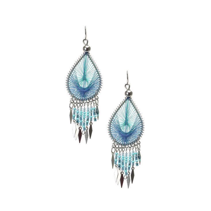 Turquoise Dreamcatcher Drop Earrings