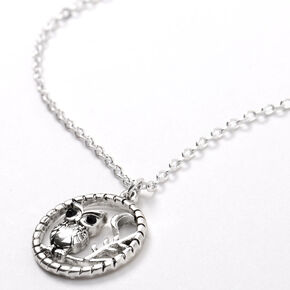 Silver Owl On Tree Branch Pendant Necklace,