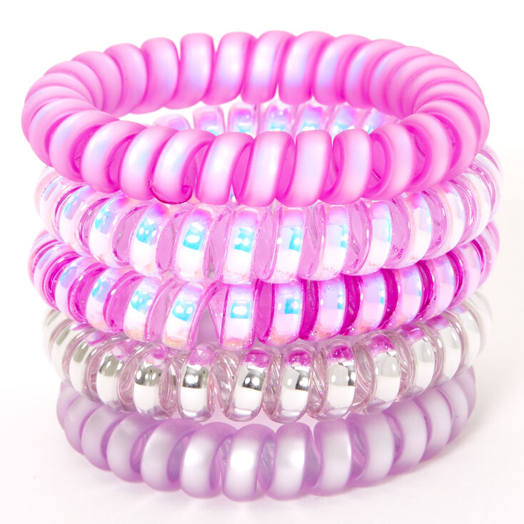 Claire's Club Coil Bracelets - Purple, 5 Pack,