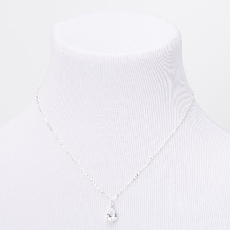 Silver Cubic Zirconia Single Teardrop Rhinestone Pendant Necklace,