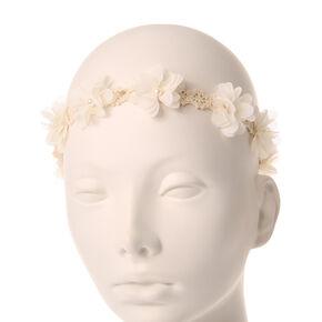 Ivory Flowers Crochet Headwrap,