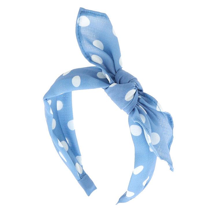 Polka Dot Bow Headband - Baby Blue,