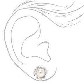Silver Pearl Knot Stud Earrings,