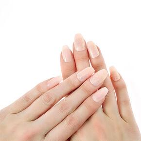 Faux ongles ballerine pailletés nude,