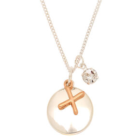 Mixed Metal Initial Charm Pendant Necklace - X,