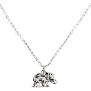 Silver Elephant Pendant Necklace,