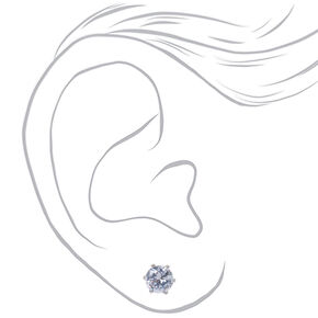 Silver Cubic Zirconia 7MM Round Stud Earrings,