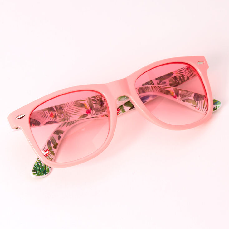 Retro Palm Leaf Sunglasses - Pink,