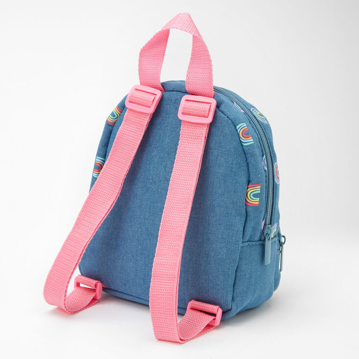 Claire's Club Hello Sunshine Small Denim Backpack - Blue,