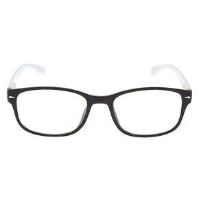 Holographic Diamond Rectangle Clear Lens Frames - White,
