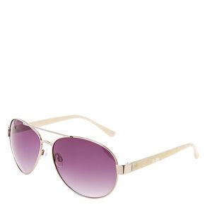 Marble Aviator Sunglasses - Silver,