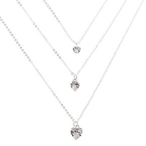 Silver Cubic Zirconia Heart Multi Strand Necklace,