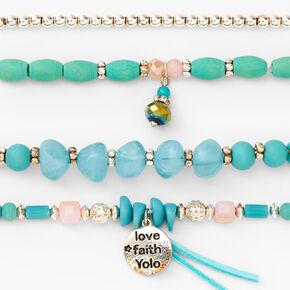 Love, Faith, YOLO Beaded Stretch Bracelets - Blue, 4 Pack,