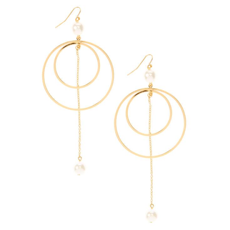 Créoles avec perles d'imitation à double cercle,