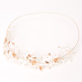 Rose Gold Metallic Flower Crown Headwrap,