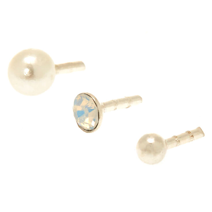 Silver 16G Pearlized Labret Studs - 3 Pack,