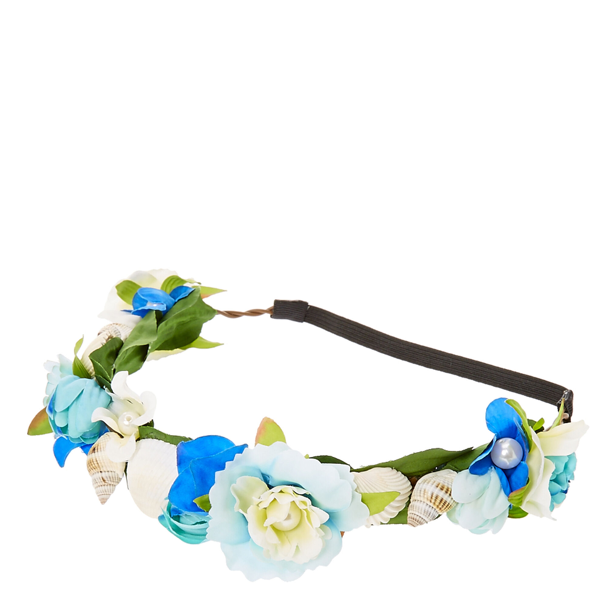 Blue flower and seashells hair garland claires us blue flower and seashells hair garland izmirmasajfo