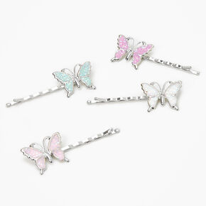 Claire's Club Glitter Butterfly Hair Pins - 4 Pack,
