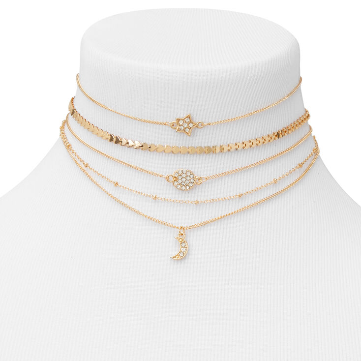 Gold Celestial Mixed Chain Choker Necklaces - 5 Pack,