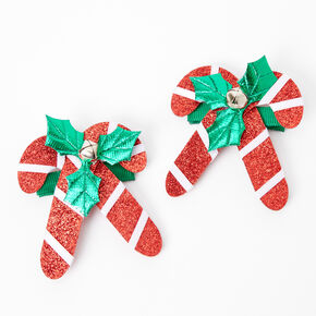 Candy Cane Holly Hair Clips - 2 Pack,