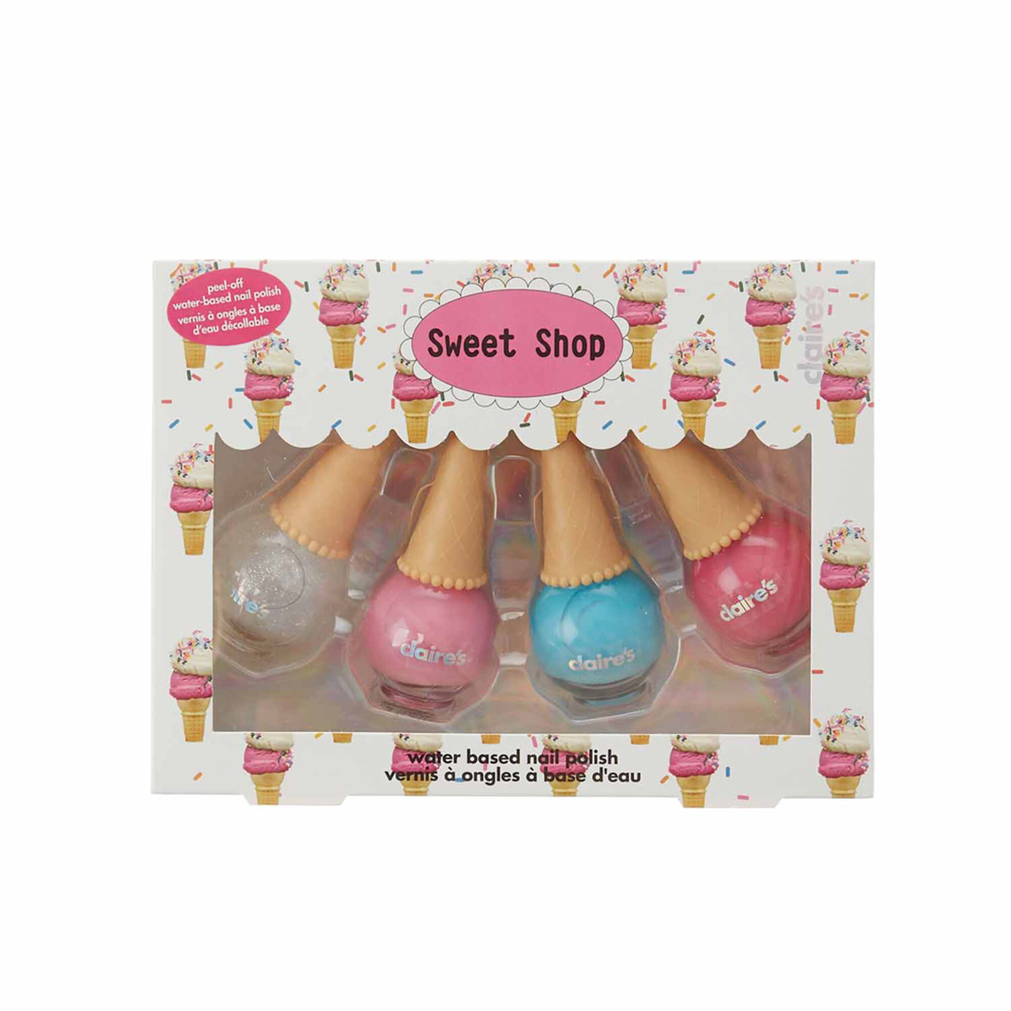4 Pack Ice Cream Cone Peel-Off Nail Polish | Claire\'s