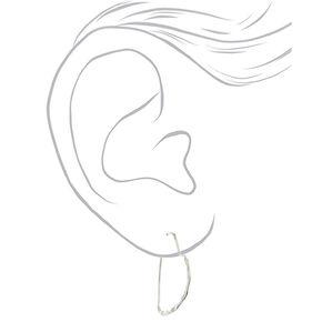 Silver 20MM Textured Heart Hoop Earrings,