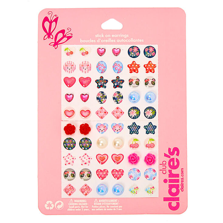 Claire's Club Girly Girl Stick On Earrings - 30 Pack,