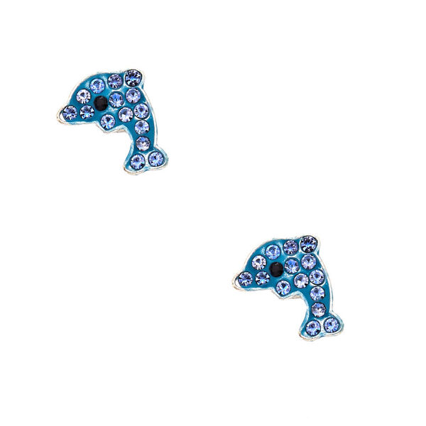 Claire's - silver dolphin magnetic stud earrings - 1
