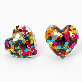 Silver Multicolor Confetti-Filled Heart Stud Earrings,