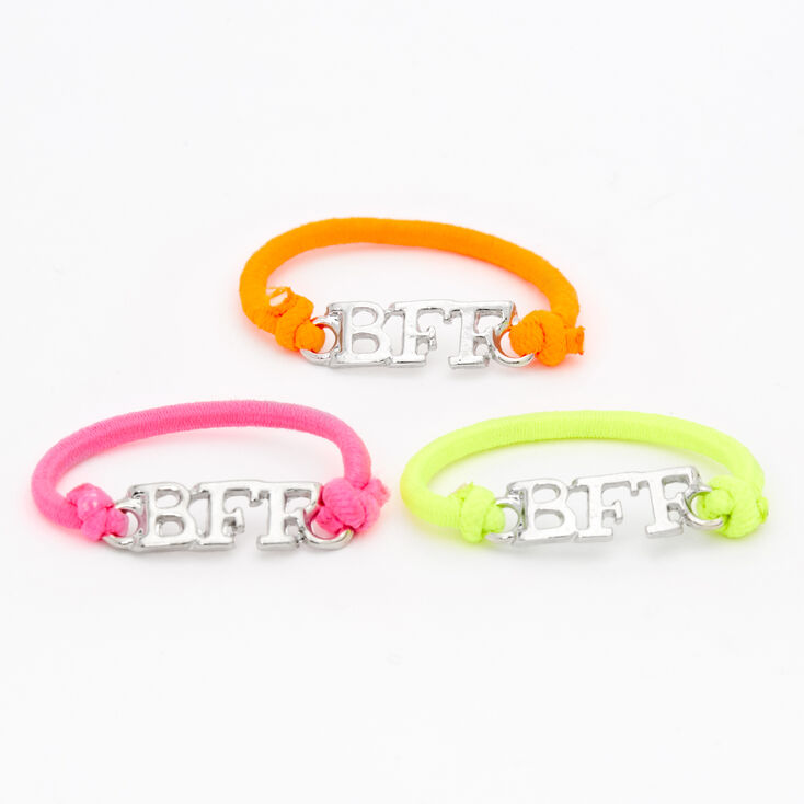Silver Best Friends Neon Stretch Rings - 3 Pack,