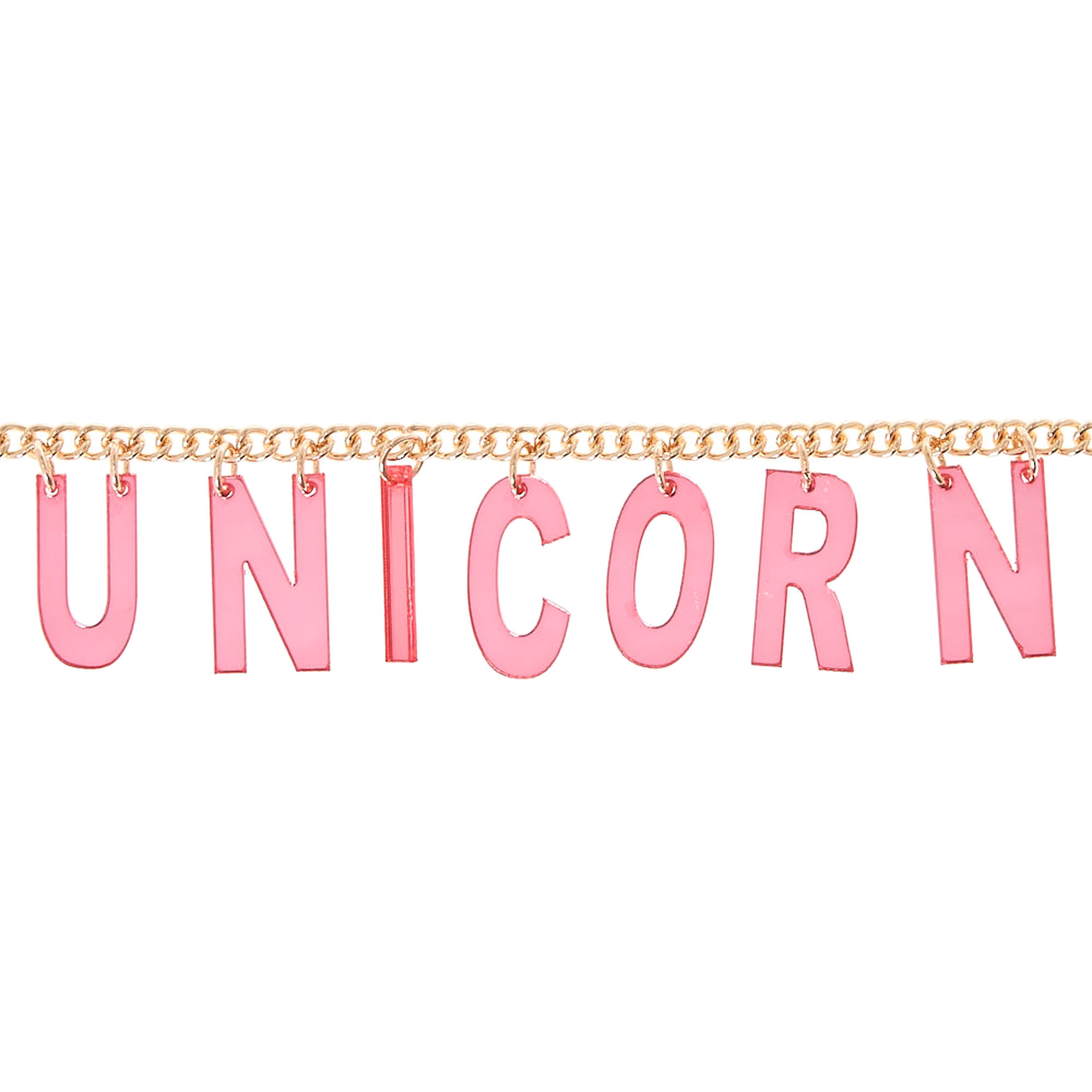 "Gold Tone and Pink ""Unicorn"" Letter Necklace"