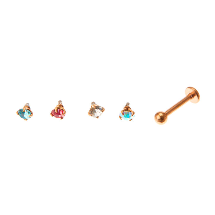 Multi Crystal Changeable Tragus Earrings - 5 Pack,