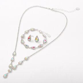 Silver Aurora Borealis Rhinestone Teardrop Jewelry Set - 3 Pack,