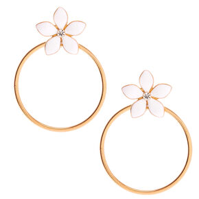 "Gold 2"" Daisy Flower Drop Earrings - White,"