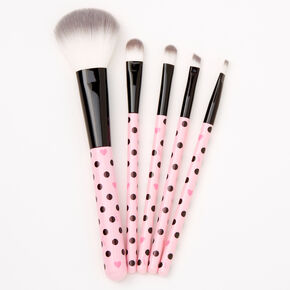 Polka Dot Makeup Brush Set - Pink,