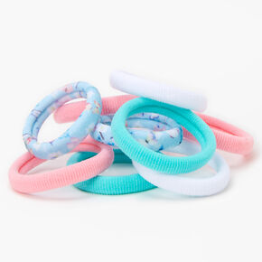 Blue, White, & Pink Plush Rolled Hair Ties - 10 Pack,