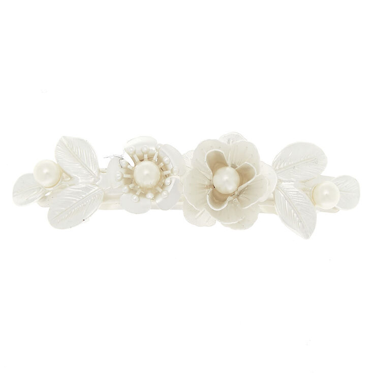Pearlized Metal Rose Hair Barrette - Ivory,