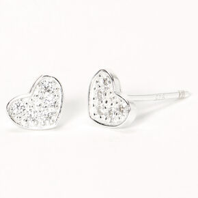 Sterling Silver Cubic Zirconia Crystal Pavé Heart Stud Earrings,