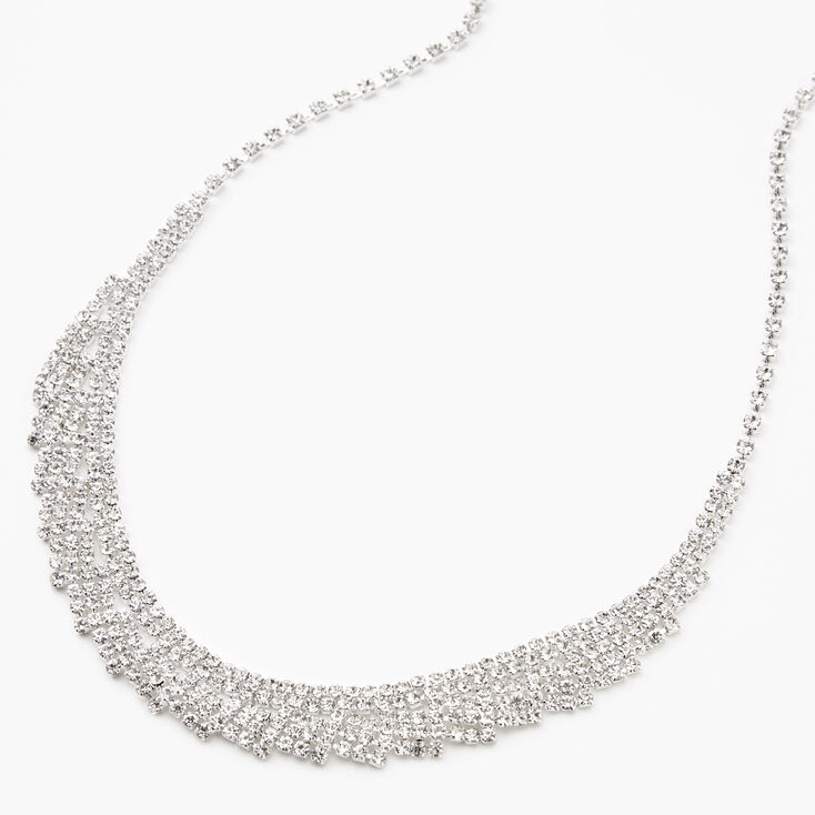 Silver Rhinestone Wings Statement Necklace,