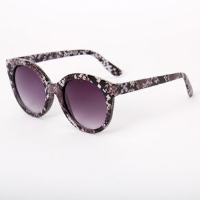 Chic Snakeskin Round Sunglasses - Black,