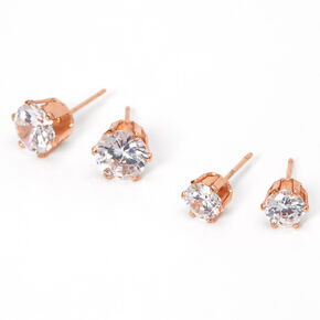 18kt Rose Gold Plated Cubic Zirconia Round Stud Earrings - 6MM, 8MM,