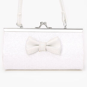 Claire's Club Glitter Bow Clutch Bag - White,
