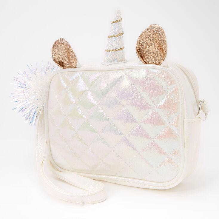 Glitter Unicorn Quilted Crossbody Bag - White,