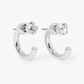 Silver 15MM Front and Back Crystal Tube Hoop Earrings,